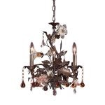 "Cristallo Fiore Collection 3-Light 18"" Deep Rust Crystal Mini Chandelier 85001"
