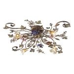 "Brillare Collection 4-Light 36"" Bronzed Rust Multi-Colored Crystal Floret Semi-Flush Mount 9105/4"