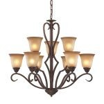 "Lawrenceville Collection 9-Light 32"" Mocha Chandelier with Antique Amber Glass 9329/6+3"