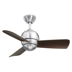 "Tilo Collection 30"" Brushed Steel Ceiling Fan with Dark Cherry Blades CF130BS"