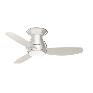 "Curva Sky Collection 44"" Brushed Steel Ceiling Fan with All-Weather Brushed Steel Blades and Opal Matte Light Kit CF144BS"