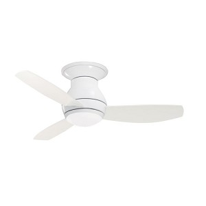"Curva Sky Collection 44"" Appliance White Ceiling Fan with All-Weather Appliance White Blades and Opal Matte Light Kit CF144WW"