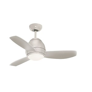 "Curva Collection 44"" Brushed Steel Ceiling Fan with All-Weather Brushed Steel Blades and Opal Matte Light Kit CF244BS"