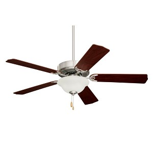 "Builder Unipack Collection 52"" Brushed Steel Ceiling Fan with Dark Cherry/Mahogany Blades and Frosted Light Kit CF701BS"