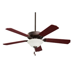 "Builder Unipack Collection 52"" Oil Rubbed Bronze Ceiling Fan with Dark Cherry/Medium Oak Blades and Frosted Light Kit CF701ORB"