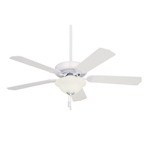 "Builder Unipack Collection 52"" Appliance White Ceiling Fan with Appliance White/Bleached Oak Blades and Frosted Light Kit CF701WW"