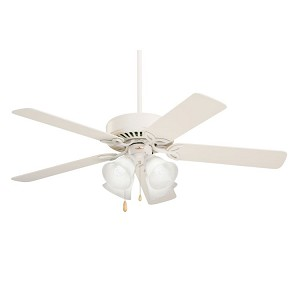"Pro Series II Collection 50"" Summer White Ceiling Fan with  Summer Wht/Bleached Oak Blades and Alabaster Swirl Light Kit CF711AW"
