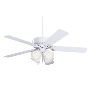 "Pro Series II Collection 50"" Appliance White Ceiling Fan with Appl. White/Bleached Oak Blades and Alabaster Swirl Light Kit CF711WW"