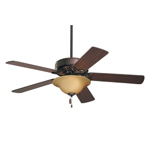 "Pro Series Collection 50"" Oil Rubbed Bronze Ceiling Fan with Dark Cherry/Medium Oak Blades and Amber Scavo Light Kit CF712ORB"