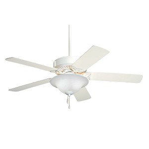 "Pro Series Collection 50"" Appliance White Ceiling Fan with Appl. White/Bleached Oak Blades and Alabaster Swirl Light Kit CF712WW"
