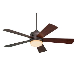 "Atomical Collection 52"" Oil Rubbed Bronze Ceiling Fan with Mahogany Blades and Teastained Light Kit CF930ORB"