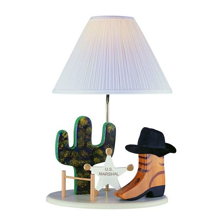 "Lite Source Kids Collection 1-Light 22"" Cowboy Table Lamp with Off-White Pleated Fabric Shade 3CB20106"