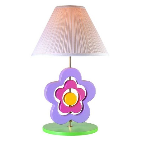 "Lite Source Kids Collection 1-Light 23"" Hippie Spinning Flower Table Lamp with Off-White Pleated Fabric Shade 3SFL50106"