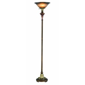 "Savoir Faire Collection 70"" 1-Light Antique Gold / Glass Torchiere Lamp C6334"