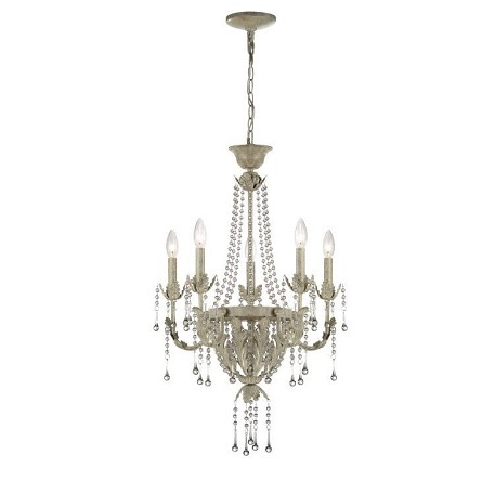 "Calanthe Collection 17"" Antique Ivory Chandelier with Crystal Decoration C71220"