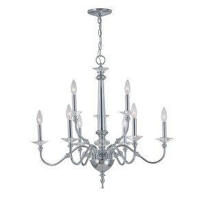 "Manica Collection 28"" 9-Light Chrome Chandelier EL-10016"