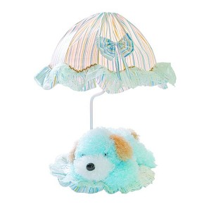 "Lite Source Kids Collection 1-Light 18"" Puppy Dog Table Lamp with Off-White Pleated Fabric Shade IK-6090BLU"