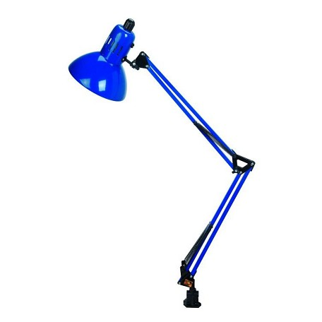 "Swing-Arm Collection 1-Light 35"" Blue Metal Clamp On Lamp with Blue Shade LS-105BLU"