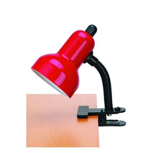 "Gooseneck Clip-On-Lite Collection 1-Light 12"" Red Metal Clip-On Lamp with Red Gooseneck LS-111 RED"