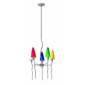 "Kaub Collection 18"" 5-Light Polished Steel Chandelier LS-14525MULTI"