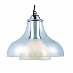 "Opal Collection 12"" 1-Light Double Glass Pendant Lamp LS-1489"