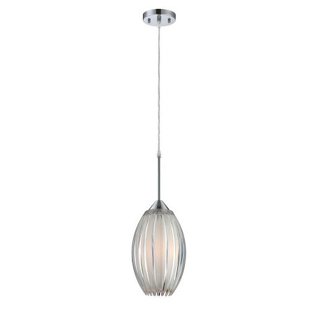 "Lotuz Collection 1-Light 10"" Chrome Mini Pendant with Acrylic Shade LS-19160"