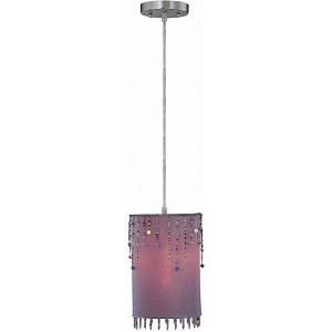 "Shaggie Collection 1-Light 10"" Purple Fabric Pendant Lamp with Multi-Colored Beads LS-19265 PURP"