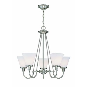 "Bastien Collection 24"" 5-Light Polished Steel Chandelier LS-19655PS/FRO"