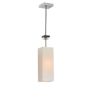 "Tomed Collection 5"" 1-Light Polished Steel / Wood Pendant Lamp LS-19706"