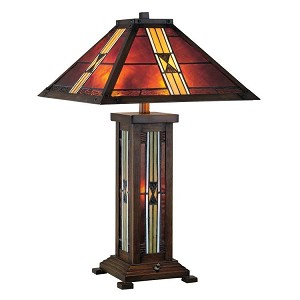 "Farah Collection 2-Light 26"" Dark Bronze Mission Style Table Lamp with Tiffany Shade LS-20812"