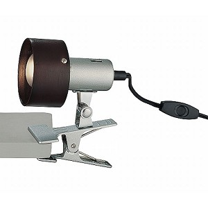 "Duccio Collection 1-Light 6"" Silver Clip-on Lamp with Dark Walnut Wood Ring Shade LS-21090"