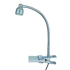 "Calipso Collection 1-Light 12"" Chrome Metal LED Clip-On Lamp LS-21098"