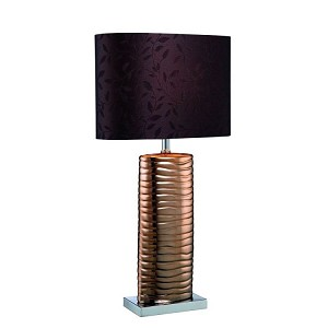 "Fantino 1-Light 23"" Copper Ceramic Table Lamp with Brown Shade LS-21281COPPER"