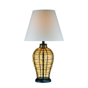 "Abeilles I Collection 1-Light 30"" Amber Glass Table Lamp with Linen Fabric Shade LS-21320"