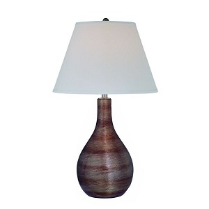 "Carabella Collection 1-Light 27"" Coffee Glass Table Lamp with Off-White Fabric Shade LS-21327COFFEE"