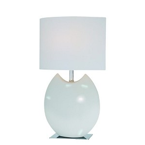 "Spazio Collection 1-Light 20"" Ivory Ceramic Table Lamp with Elliptical White Fabric Shade LS-21335IVY"