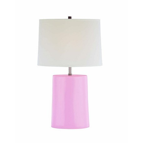 "Jayvon Collection 1-Light 26"" Pink Ceramic Table Lamp with Off-White Elliptical Fabric Shade LS-21353PINK"