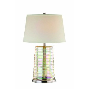 "Tecza Collection 1-Light 27"" Iridescent Glass Table Lamp with Off-White Fabric Shade LS-21356"