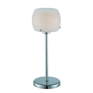 "Gimbya Collection 1-Light 13"" Chrome Accent Table Lamp with Frosted Glass Shade LS-21486"