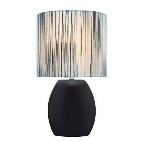 "Reiko Collection 1-Light 17"" Black Ceramic Table Lamp with Matching Elliptical Fabric Shade LS-21506BLK"