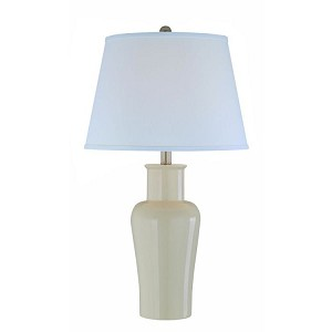 Evelia Collection 1-Light 29 Ivory Ceramic Table Lamp with Off-White Fabric Shade LS-21587IVY