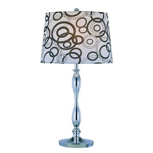 "Cirkel Collection 1-Light 27"" Chrome Table Lamp with Circle Print Fabric Shade LS-21591"