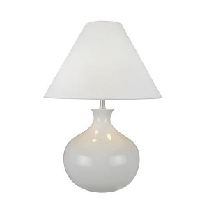 "Chakra Collection 2-Light 17"" White Ceramic Table Lamp with White Fabric Shade LS-21648"