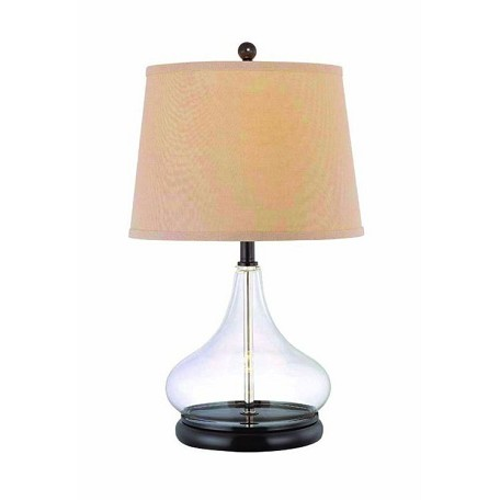 "Hendrick Collection 1-Light 20"" Clear Glass Table Lamp with Beige Fabric Shade LS-21658"