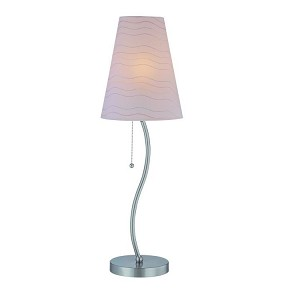 "Golvend Collection 1-Light 27"" Polished Steel Table Lamp with Off-White Wave Stripped Paper Shade LS-21685"