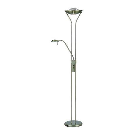 "Duality II Collection 1-Light 71"" Antique Brass Torchiere Reading Lamp with Frost Glass Diffuser LS-80984"