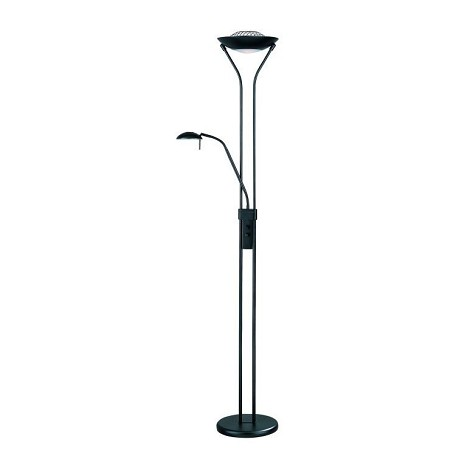 "Duality II Collection 1-Light 71"" Black Torchiere Reading Lamp with Frost Glass Diffuser LS-80984BLK"
