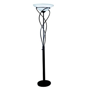 "Majesty Collection 1-Light 71"" Black Torchiere Lamp with Cloud Glass Shade LS-9640BLK"