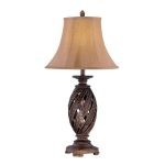 "Estefania Collection 1-Light 33"" Antique Bronze Table Lamp with Swirl Pleated Dupioni Shade C41188"