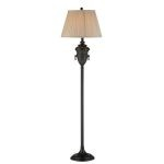 "Lachlan Collection 62"" Aged Black Floor Lamp with Beige Fabric Shade C61259"